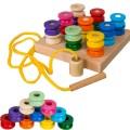 Пірамідка шнурівка Котушки розвиваюча дерев'яна іграшка