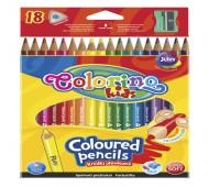 Карандаши цветные и точилка в контейнере, трехгранные 18 цветов  Colorino