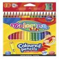 Олівці кольорові і точилка в контейнері, тригранні 18 кольорів Colorino