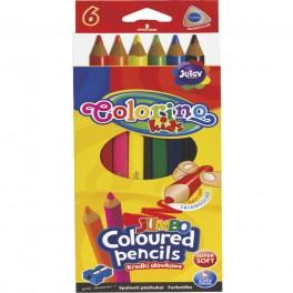 Карандаши цветные трехгранные Jumbo 6 цветов  Colorino