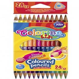 Карандаши двухсторонние Duo Colors 12 карандашей, 24 цвета Colorino