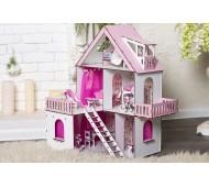 Домик для кукол Солнечная Дача с обоями, шторками, мебелью и текстилем 2102