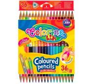 Карандаши цветные двухсторонние 18шт 36цв COLORINO 68512PTR