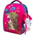 Рюкзак ранец школьный каркасный с мешком для сменной обуви пеналом и мягкой игрушкой DeLune 7mini-022